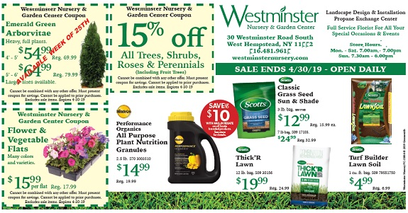 Coupons and Specials at Westminster Nursery